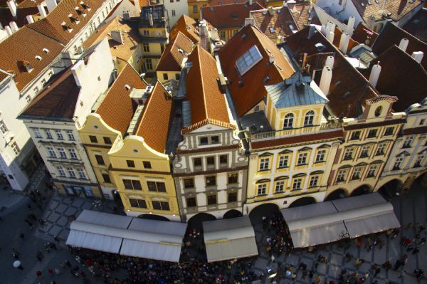 Czech Republic, Prague, Old Town. View looking across the Old Town from a viewpoint within the Old Town City Hall