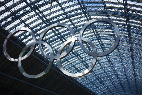 England, Greater London, London Borough of Camden. Olympic sign celebrating the 2012 London Olympics on display in the London St Pancras Internationa railway station near