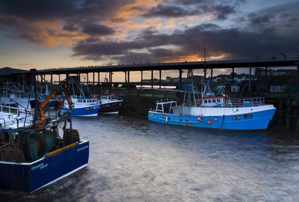 England, Tyne and Wear, North Shields. Dawn at the North Shields Fish Quay near the mouth of the River Tyne