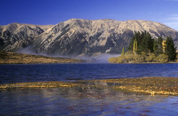 NEW ZEALAND, Canterbury, Craigieburn. The golden autumn colours of Lake Pearson and surrounding mountains and trees