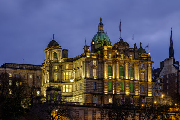 Scotland, Edinburgh, Bank of Scotland. A prominent feature of the Edinburgh skyline, the Bank of Scotland head office on The Mound. Construction of this impressive building was completed in 1806