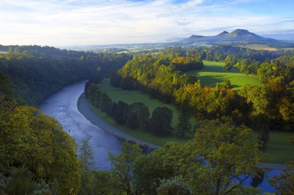 Scotland, Scottish Borders, Melrose. The Eildon Hills and the River Tweed, viewed in Autumn from the famous viewpoint of Scott's View near Newton St Boswells