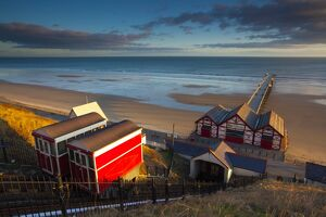England, Cleveland, Saltburn-by-the-Sea. View from the top of the funicular railway