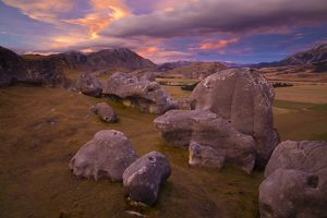 New Zealand, Canterbury, Castle Hill. Imposing array of limestone boulders on Castle