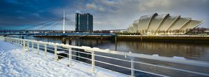 Scotland, Glasgow, Pacific Quay. Panoramic view of the Scottish Exhibition