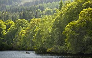 Scotland, Perth and Kinross, Pitlochry. Fishing from a boat on Loch Faskally