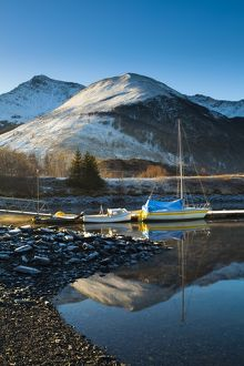 Scotland, Scottish Highlands, Ballachulish. Sailing boats moored on Loch Leven